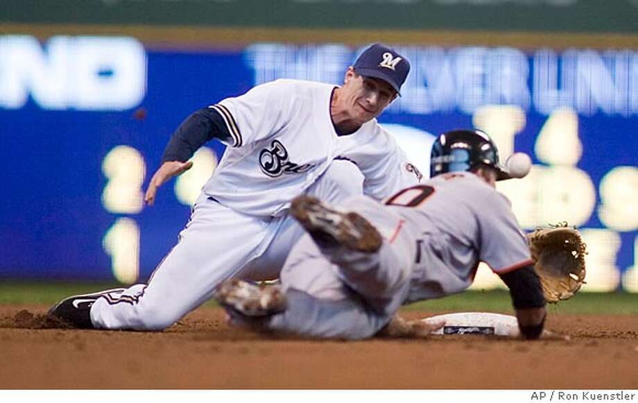 Milwaukee Brewers' Craig Counsell can't come up with the ball as San Francisco Giants' Daniel Ortmeier steals second during the fifth inning of the baseball game, Saturday April 5, 2008 in Milwaukee. (AP Photo/ Ron Kuenstler) Photo: Ron Kuenstler