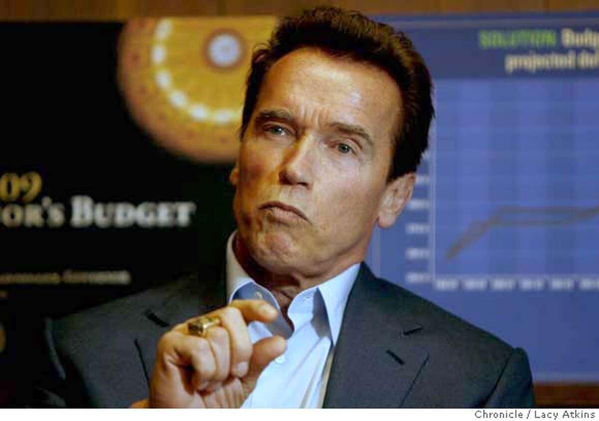 California Governor Arnold Schwarzenegger meets with the San Francisco Editorial Board , Monday January 28, 2008, in San Francisco, Ca. (Lacy Atkins San Francisco Chronicle)
