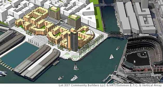The development proposal by Kenwood Investments and Boston Properties for the parking lot next to Mission Bay owned by the Port of San Francisco. Rendering Courtesy of Lot 337 Community Builders LLC & WRT/Solomon E.T.C. & Vertical Array  Ran on: 03-02-2008 Ran on: 04-05-2008  This rendering shows the Giants group's proposal for developing the parking lot next to Mission Bay. Photo: Community Builders LLC & WRT/Sol