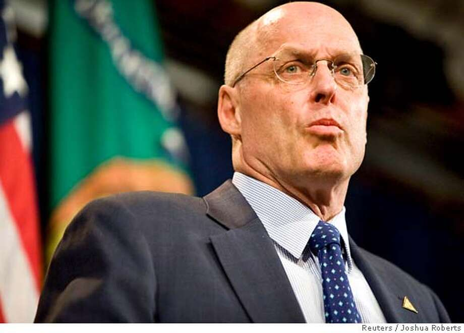 ###Live Caption:Secretary of the Treasury Henry Paulson speaks at a news conference after a meeting of the G-7 finance ministers during the World Bank/IMF 2008 Spring Meetings in Washington April 11, 2008. Joshua Roberts/REUTERS (UNITED STATES)###Caption History:Secretary of the Treasury Henry Paulson speaks at a news conference after a meeting of the G-7 finance ministers during the World Bank/IMF 2008 Spring Meetings in Washington April 11, 2008. Joshua Roberts/REUTERS (UNITED STATES)###Notes:Secretary of the Treasury Henry Paulson speaks at a news conference after a meeting of the G-7 finance ministers in Washington###Special Instructions:0 Photo: JOSHUA ROBERTS