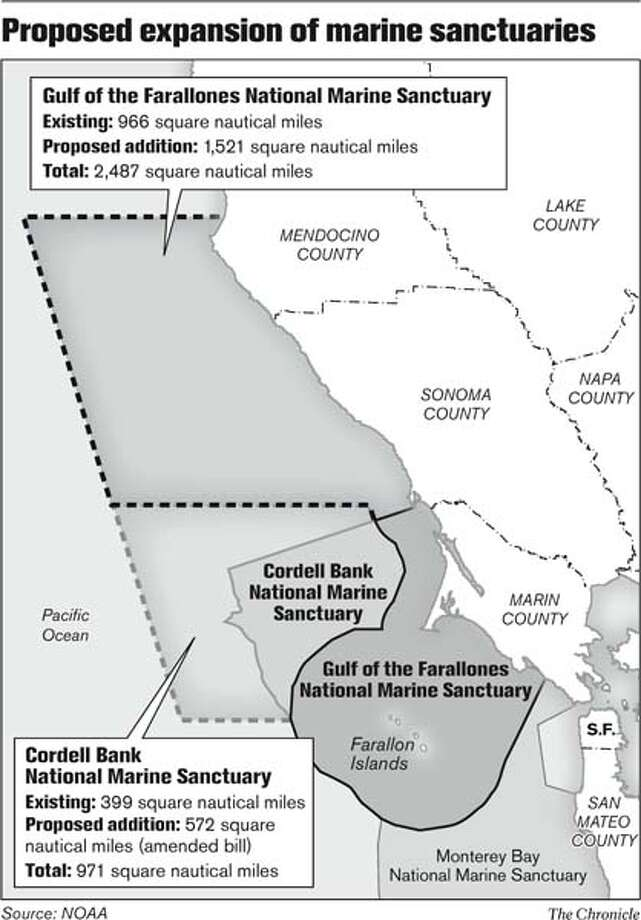 Proposed expansion of marine sanctuaries. Chronicle Graphic