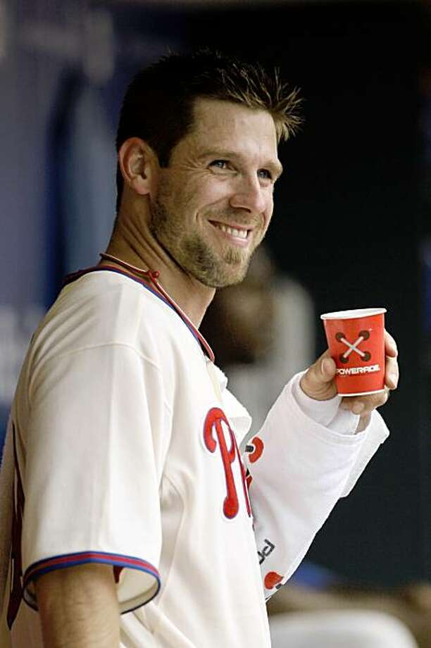 Philadelphia Phillies' Cliff Lee smiles from the dugout after pitching in the sixth inning of a baseball game against the Colorado Rockies, Thursday, Aug. 6, 2009, in Philadelphia. Philadelphia won 3-1. (AP Photo/Matt Slocum) Photo: Matt Slocum, AP
