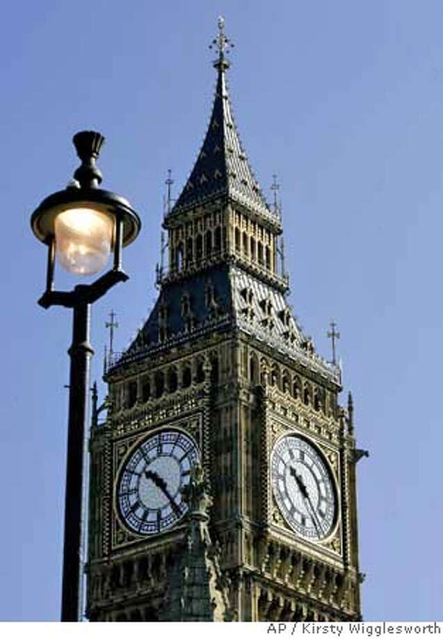 ###Live Caption:The clock face's in St Stephen's Tower which houses the Big Ben bell, in London, Thursday, April 10, 2008. Thursday marks the 150th anniversary of Big Ben,the world famous Great Bell of Britain's Parliament buildings. The 13.7 metric ton (15.1 U.S. ton) bell was cast on April 10, 1858 at the Whitechapel Bell Foundry in east London.(AP Photo/Kirsty Wigglesworth)###Caption History:The clock face's in St Stephen's Tower which houses the Big Ben bell, in London, Thursday, April 10, 2008. Thursday marks the 150th anniversary of Big Ben,the world famous Great Bell of Britain's Parliament buildings. The 13.7 metric ton (15.1 U.S. ton) bell was cast on April 10, 1858 at the Whitechapel Bell Foundry in east London.(AP Photo/Kirsty Wigglesworth)###Notes:###Special Instructions: Photo: Kirsty Wigglesworth
