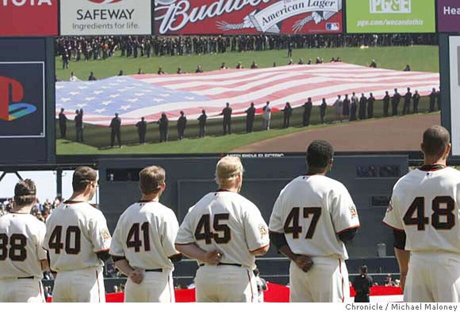###Live Caption:The Giants watch the outfield big screen monitor as the US flag is unfurled on the outfield during the Star Spangled Banner ceremony.  The San Francisco Giants host the San Diego Padres at AT&T Park in San Francisco, Calif., on April 7, 2008. It was the Giants home opener.  Photo by Michael Maloney / San Francisco Chronicle###Caption History:The Giants watch the outfield big screen monitor as the US flag is unfurled on the outfield during the Star Spangled Banner ceremony.  The San Francisco Giants host the San Diego Padres at AT&T Park in San Francisco, Calif., on April 7, 2008. It was the Giants home opener.  Photo by Michael Maloney / San Francisco Chronicle###Notes:***roster###Special Instructions:MANDATORY CREDIT FOR PHOTOG AND SAN FRANCISCO CHRONICLE/NO SALES-MAGS OUT Photo: Michael Maloney