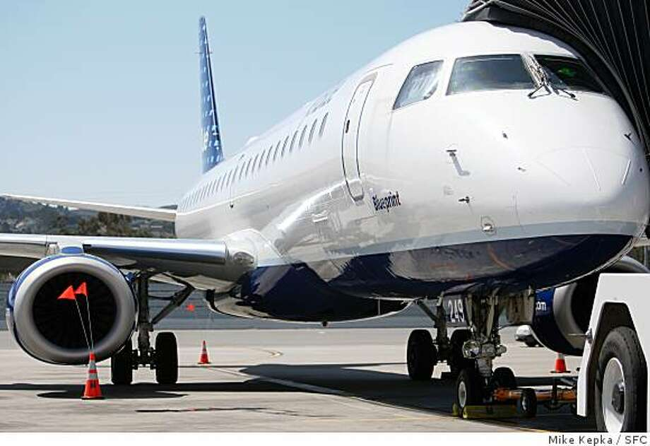 In addition to the $109 transcontinental fares at JetBlue, the carrier has one-way fares as low as $79 between Austin and Long Beach or $89 to San Francisco. JetBlue announced the addition of the Embraer E190 to their fleet on Monday, April, 7, at at SFO in San Francisco, Calif. The E190 features 36 channels of DirectTV, XM Satellite Radio and Fox in-flight movies, with no middle seat.Photo by Mike Kepka / San Francisco Chronicle Photo: Mike Kepka, SFC
