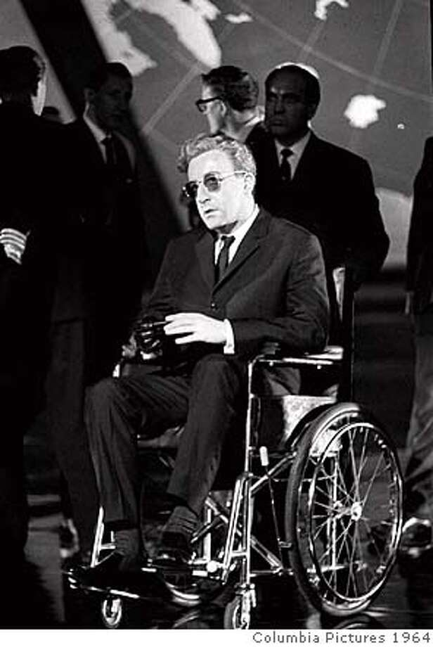 "###Live Caption:Peter Sellers in ""Dr. Strangelove""###Caption History:FILE--Actor Peter Sellers sits in a wheelchair portraying the titular character during production of the 1964 movie ""Dr. Strangelove or: How I Learned to Stop Worrying and Love the Bomb"" directed by Stanley Kubrick. Kubrick died Sunday, March 7, 1999 at his home in England, his family said. He was 70. (AP Photo) Ran on: 12-03-2004  Peter Sellers (Geoffrey Rush) and his second wife, Britt Eklund (Charlize Theron), in HBO's &quo;The Life and Death of Peter Sellers.&quo;###Notes:###Special Instructions:UNDATED FILE PHOTO Photo: Columbia Pictures 1964"