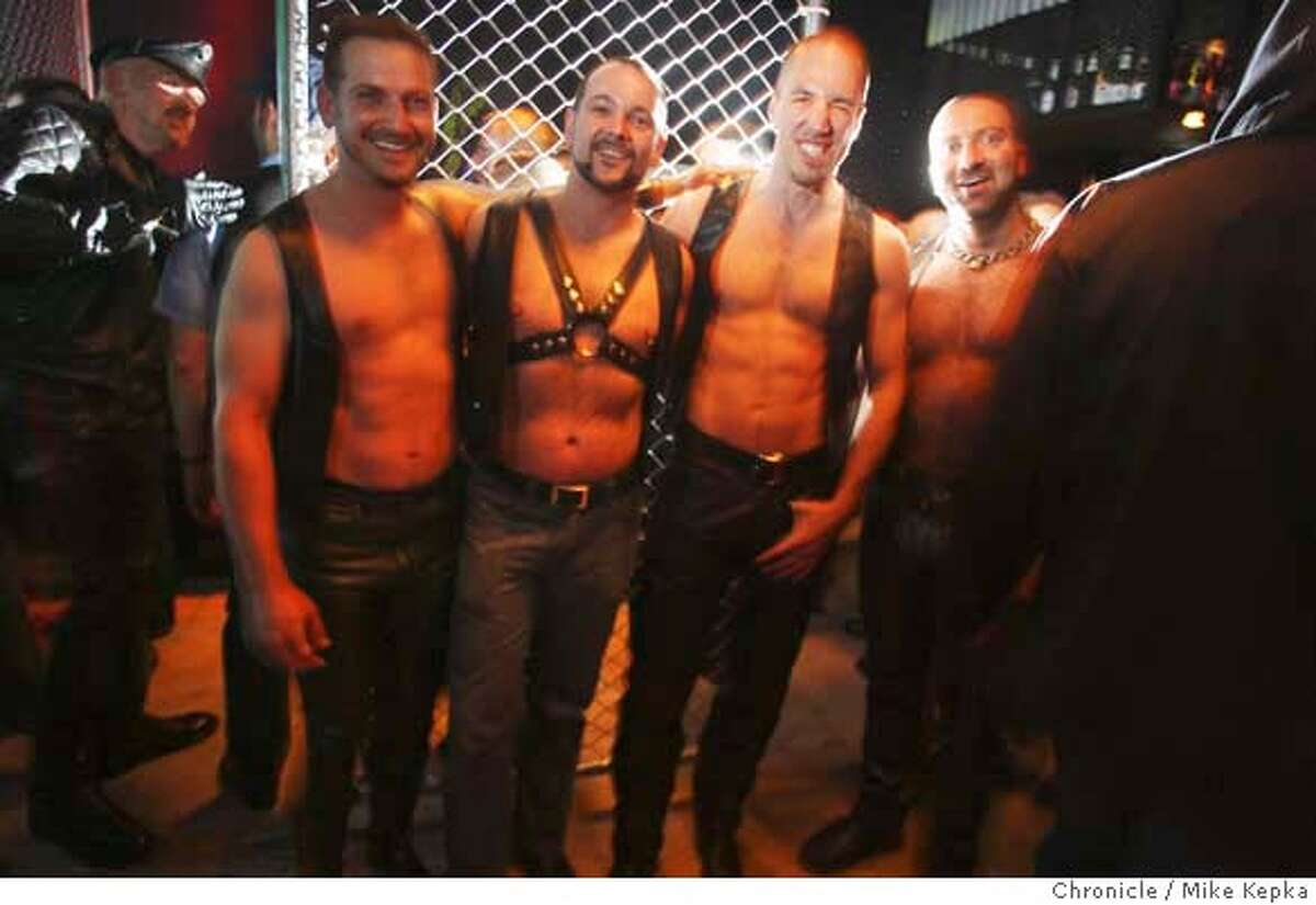 Mr. SF Leather contestants, Ron Balos, Desmond Perrato, Michael Steele and Paul Saccone make their appearance at the opening of Chaps II, the city's newest leather bar, on Friday, April, 04, 2008 in San Francisco, Calif. This is the first bar of it kind to open here in more that 10 years. Photo by Mike Kepka / San Francisco Chronicle