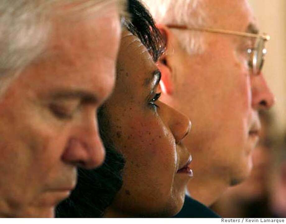 ###Live Caption:U.S. Secretary of Defense Robert Gates (L-R), Secretary of State Condoleezza Rice and Vice President Dick Cheney listen to U.S. President George W. Bush speak about the war in Iraq from the White House in Washington April 10, 2008. After a contentious debate in Congress on Iraq, Bush on Thursday defended his war policy, which will leave resolution of the costly and unpopular conflict to his successor.  REUTERS/Kevin Lamarque (UNITED STATES)###Caption History:U.S. Secretary of Defense Robert Gates (L-R), Secretary of State Condoleezza Rice and Vice President Dick Cheney listen to U.S. President George W. Bush speak about the war in Iraq from the White House in Washington April 10, 2008. After a contentious debate in Congress on Iraq, Bush on Thursday defended his war policy, which will leave resolution of the costly and unpopular conflict to his successor.  REUTERS/Kevin Lamarque (UNITED STATES)###Notes:Gates, Rice and Cheney listen as Bush speaks about the war in Iraq in Washington###Special Instructions:0 Photo: KEVIN LAMARQUE