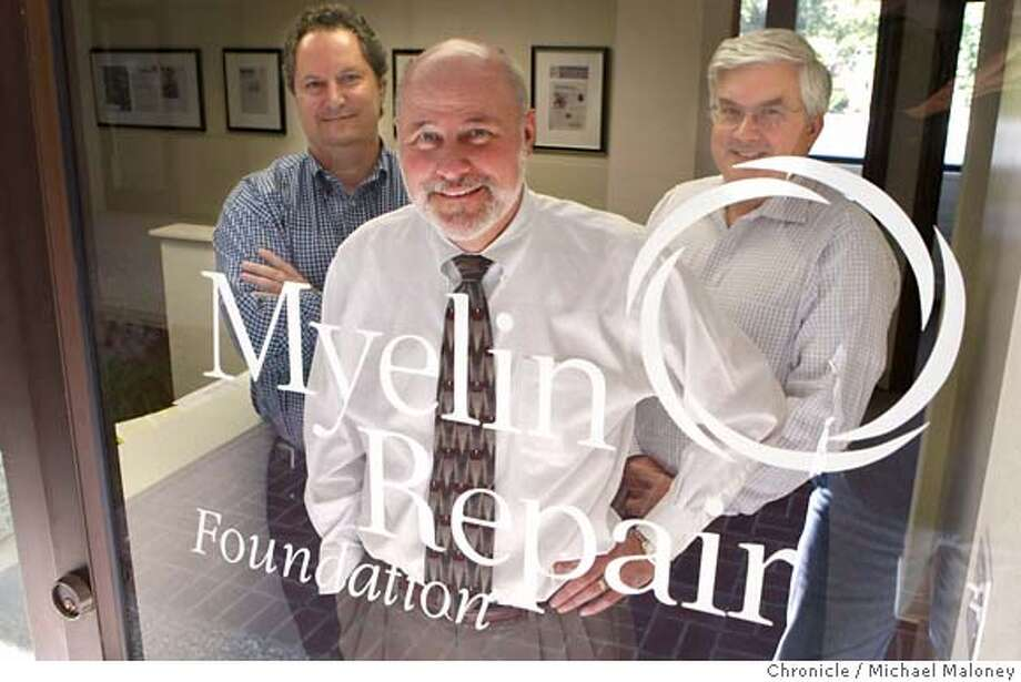 ###Live Caption:Scott Johnson, president of Myelin Repair Foundation poses with team members Russell Rydel, (left) and Rusty Bromley (right) in the doorway of their Saratoga, Calif., office on March 25, 2008. The Myelin Repair Foundation was founded by Johnson to provide the funding, technology and management to enable scientists to focus their energies on their research toward treatments for multiple sclerosis.  Photo by Michael Maloney / San Francisco Chronicle###Caption History:Scott Johnson, president of Myelin Repair Foundation poses with team members Russell Rydel, (left) and Rusty Bromley (right) in the doorway of their Saratoga office on March 25, 2008. The Myelin Repair Foundation was founded by Johnson to provide the funding, technology and management to enable scientists to focus their energies on their research toward treatments for multiple sclerosis.  Photo by Michael Maloney / San Francisco Chronicle###Notes:*** Scott Johnson, Russell Rydel and Rusty Bromley###Special Instructions:MANDATORY CREDIT FOR PHOTOG AND SAN FRANCISCO CHRONICLE/NO SALES-MAGS OUT Photo: Michael Maloney