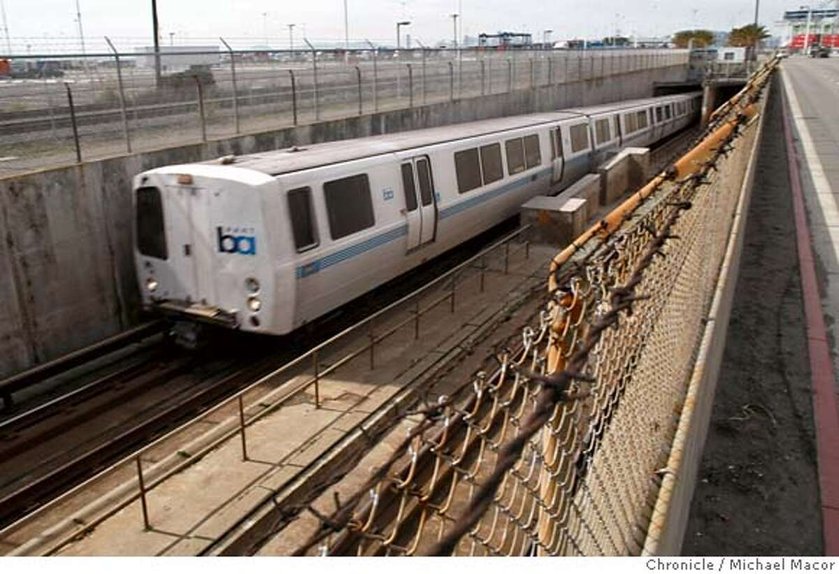 ###Live Caption:A BART train moves out of the West Portal from under San Francisco Bay, in West Oakland, Calif., on Mar. 7, 2008. State bond money will be used to earthquake retrofit the BART tube that carries thousands of passengers each day into and out of San Francisco, Calif. Photo by Michael Macor/ San Francisco Chronicle###Caption History:A BART train moves out of the West Portal from under San Francisco Bay, in West Oakland, Calif., on Mar. 7, 2008. State bond money will be used to earthquake retrofit the BART tube that carries thousands of passengers each day into and out of San Francisco, Calif. Photo by Michael Macor/ San Francisco Chronicle###Notes:California Governor Arnold Schwarzenegger will use BART as his venue to announce the millions of dollars that BART and other state transit systems are about to receive from the state. The money is the 2008 installment from voter approved Proposition 1B f###Special Instructions:Mandatory credit for Photographer and San Francisco Chronicle No sales/ Magazines Out