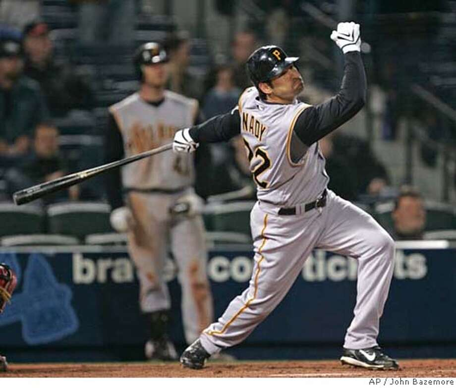 ###Live Caption:Pittsburgh Pirates' Xavier Nady follows through on a three-run home run in the 12th inning of a baseball game against the Atlanta Braves on Monday, March 31, 2008, in Atlanta. Pittsburgh won 12-11. (AP Photo/John Bazemore)###Caption History:Pittsburgh Pirates' Xavier Nady follows through on a three-run home run in the 12th inning of a baseball game against the Atlanta Braves on Monday, March 31, 2008, in Atlanta. Pittsburgh won 12-11. (AP Photo/John Bazemore)###Notes:Xavier Nady###Special Instructions:EFE OUT Photo: John Bazemore