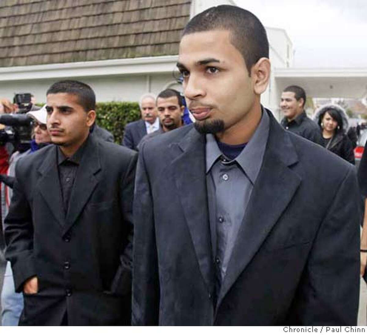 Paul Dhaliwal (right) one of the two brothers injured in the tiger attack, leaves the funeral service for 17-year-old Carlos Sousa, Jr. in San Jose, Calif. on Tuesday, Jan. 8, 2008. Sousa was killed in the Christmas Day tiger attack at the San Francisco Zoo. PAUL CHINN/The Chronicle **Paul Dhaliwal Ran on: 01-12-2008 Paul Dhaliwal Ran on: 01-12-2008 MANDATORY CREDIT FOR PHOTOGRAPHER AND S.F. CHRONICLE/NO SALES - MAGS OUT