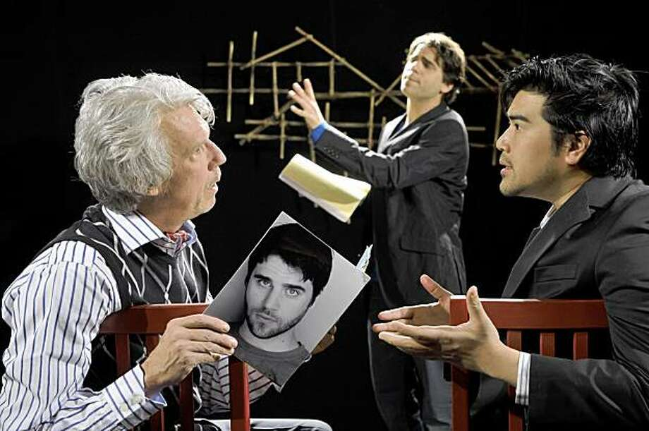"D.H.H. (Pun Bandhu, right) tries to convince producer Stuart Ostrow (Howard Swain, left) that Marcus Dahlman (Thomas Azar, center) is ""Asian enough"" to star in his latest play in the Bay Area premiere of  YELLOW FACE at TheatreWorks. Photo: David Allen"
