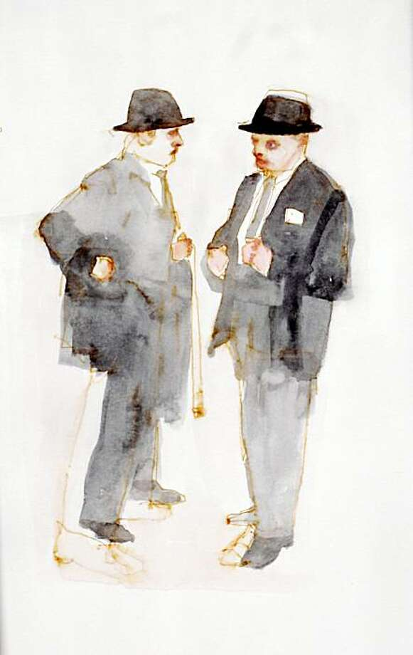 """Man Chat"" (2009) gouache and ink on paper by Jennie Ottinger  9.5"" x 6.5"" OLYMPUS DIGITAL CAMERA Photo: Jennie Ottinger, Johansson Projects, Oakland"