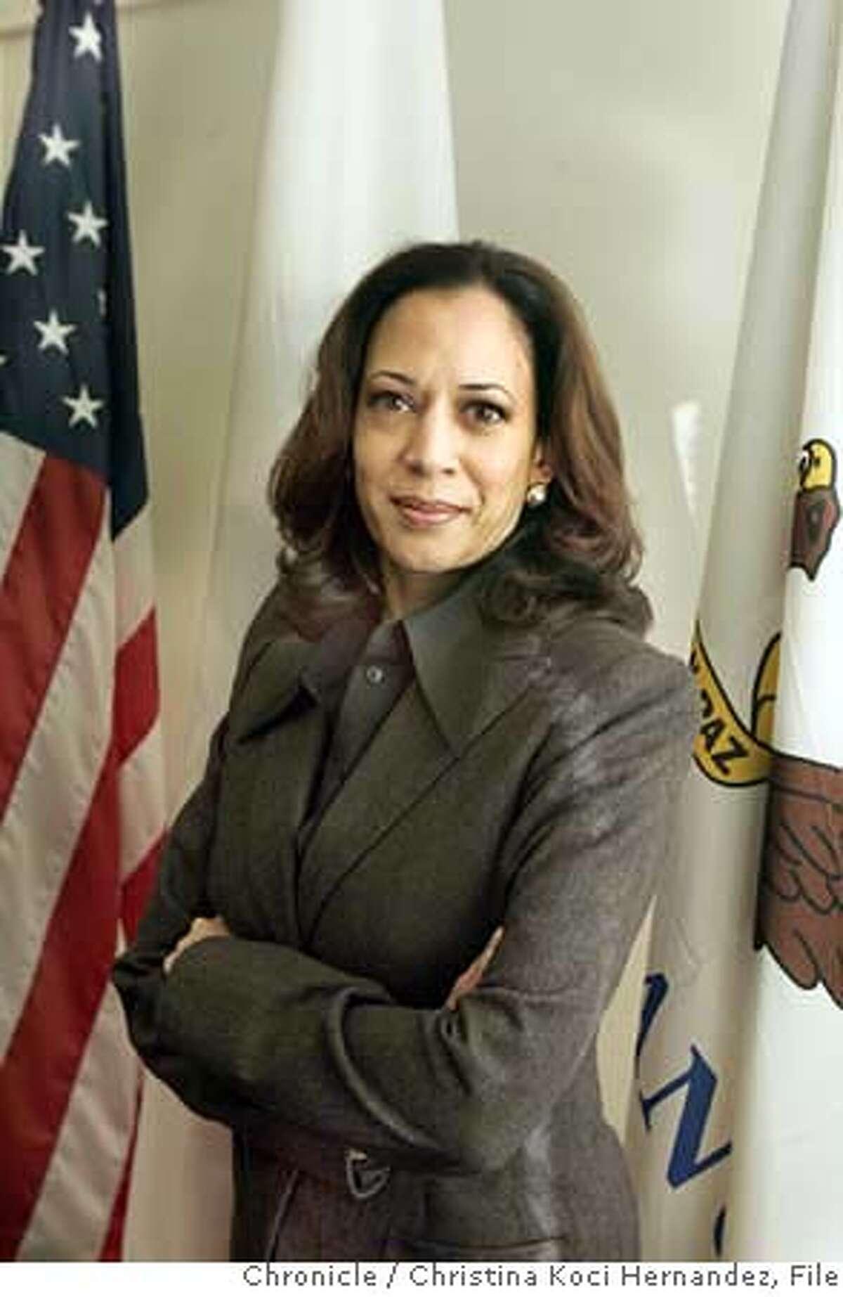 ###Live Caption:SF District Attorney Kamala Harris.###Caption History:CHRISTINA KOCI HERNANDEZ/CHRONICLE We're doing a two year anniversary story on SF District Attorney Kamala Harris. Ran on: 08-16-2007 Kamala Harris was elected D.A. in 2003. Ran on: 08-16-2007 ALSO Ran on: 08-31-2007 (A1) S.F. Mayor Gavin Newsom Ran on: 08-31-2007 ALSO Ran on: 10-28-2007 Gavin Newsom ALSO Ran on: 11-07-2007 Gavin Newsom ALSO Ran on: 01-09-2008 Gavin Newsom Ran on: 01-09-2008 Ran on: 01-09-2008 Ran on: 01-09-2008 Ran on: 04-05-2008 District Attorney Kamala Harris hasnt spoken publicly about the controversial grants. Ran on: 04-05-2008 District Attorney Kamala Harris hasnt spoken publicly about the controversial grants.###Notes:###Special Instructions: