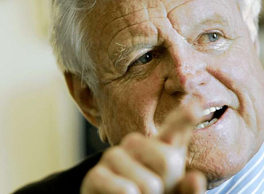 "FILE - In this April 7, 2006 file photo, Sen. Edward Kennedy, D-Mass. gestures while discussing his upcoming new book ""America Back on Track"", in his office on Capitol Hill in Washington. Kennedy, the last surviving brother in an enduring political dynasty and one of the most influential senators in history, died at his home on Cape Cod after a yearlong struggle with brain cancer. He was 77. (AP Photo/Pablo Martinez Monsivais, FILE) Photo: Pablo Martinez Monsivais, AP"