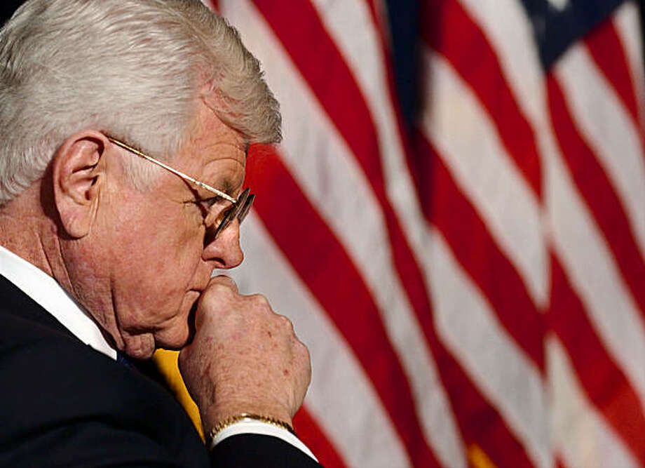 Sen. Edward Kennedy, D-Mass., listens as he is introduced for his speech to the Center for American Progress in Washington Wednesday, Jan. 14, 2004. (AP Photo/Gerald Herbert) Photo: Gerald Herbert, AP / AP
