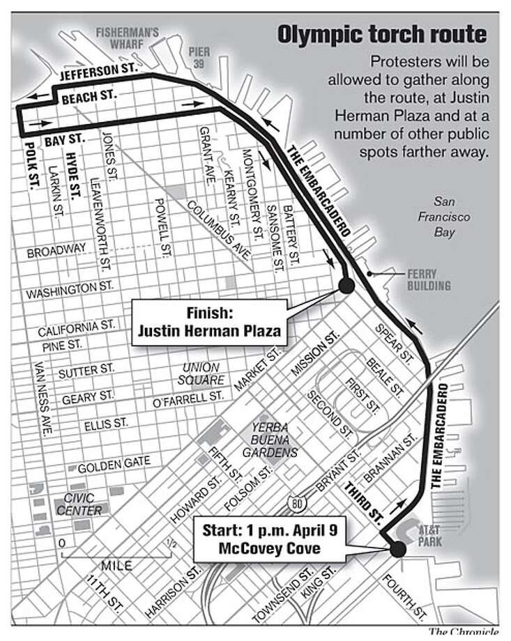 Olympic Torch Route. Chronicle Graphic