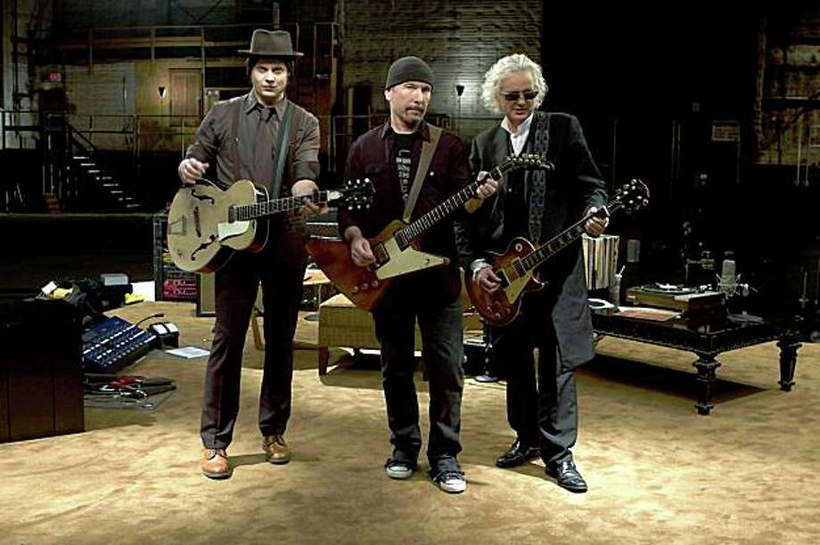 "Left to Right: Jack White, The Edge, Jimmy Page in ""It Might Get Loud."" Photo: Eric Lee, Sony Pictures Classics"