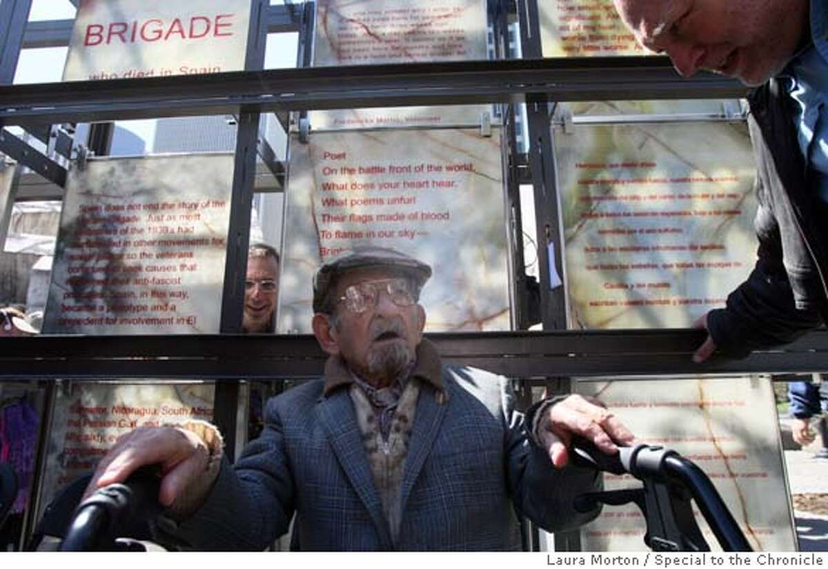 ###Live Caption:David Smith, a veteran of the Spanish Civl War, attends dedication ceremony for a new memorial commemorating the Abraham Lincoln Brigade in the Spanish Civil War in San Francisco, Calif., on Sunday, March 30, 2008. Smith spoke during the ceremony. Photo by Laura Morton / Special to The Chronicle###Caption History:David Smith, a veteran of the Spanish Civl War, attends dedication ceremony for a new memorial commemorating the Abraham Lincoln Brigade in the Spanish Civil War in San Francisco, Calif., on Sunday, March 30, 2008. Smith spoke during the ceremony. Photo by Laura Morton / Special to The Chronicle###Notes:David Smith###Special Instructions: