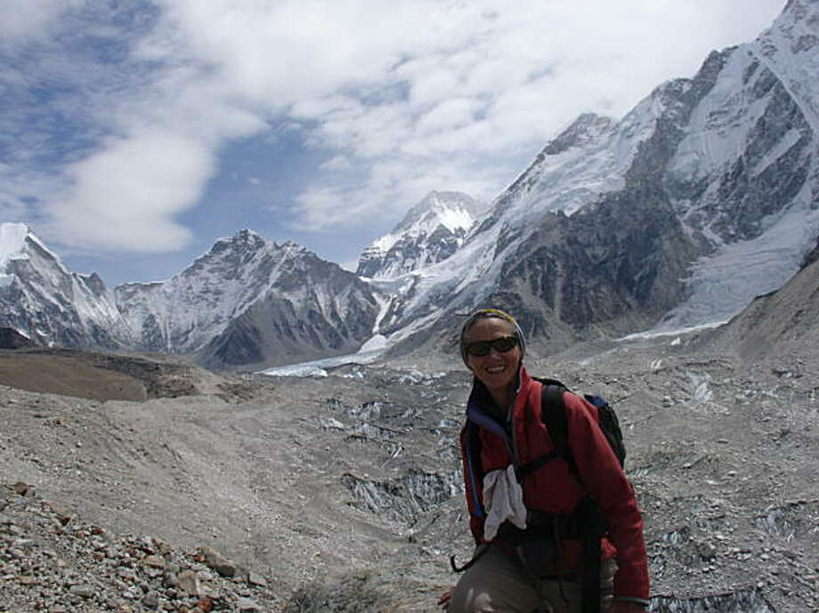 Kathy Kapps-King of Sausalito en route to Everest base camp. Photo: NA