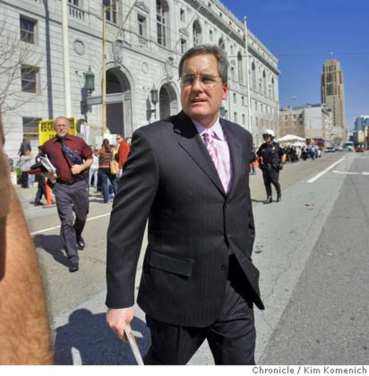 San Francisco City Attorney Dennis Herrera walks to City Hall from the State of California Building in San Francisco, Calif. on Tuesday, March 4, 2008 where the California Supreme Court is hearing oral arguments on the same-sex marriage case. Photo by Kim Komenich / The San Francisco Chronicle