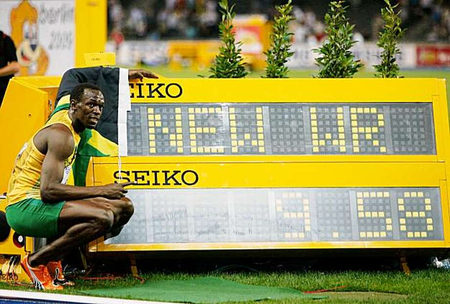 BERLIN - AUGUST 16:  Usain Bolt of Jamaica celebrates winning the gold medal in the men's 100 Metres Final during day two of the 12th IAAF World Athletics Championships at the Olympic Stadium on August 16, 2009 in Berlin, Germany. Bolt set a new World Record of 9.58.  (Photo by Andy Lyons/Getty Images) Photo: Andy Lyons, Getty Images