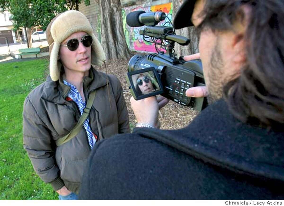 Actor David Carr-Berry, left, is filmed by director Bill Bowles for a original podcast , Monday March 17, 2008, in San Francisco, Ca. Photo by Lacy Atkins / San Francisco Chronicle