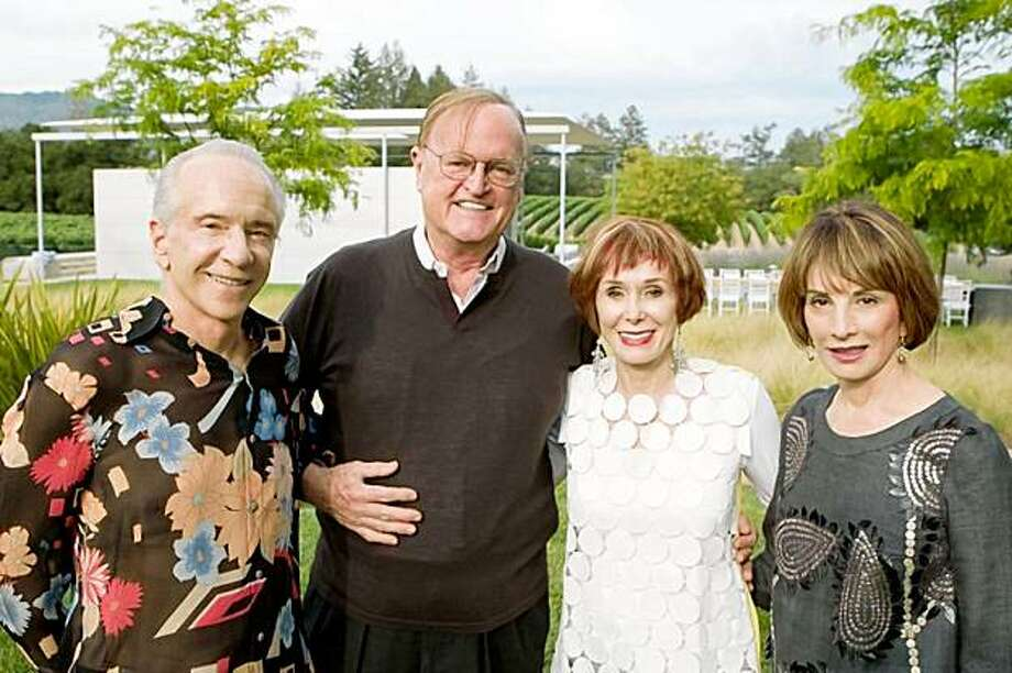 "Norman and Norah Stone welcomed friends and art world notables to the opening of their new exhibition, ""Breaking New Ground Underground,"" at Stonescape located in the Napa Valley.   Norman Stone, Brunno Ristow, Norah Stone, Urannia Ristow Photo: Aubrie Pick For Drew Altizer Aub, Special To The Chronicle"