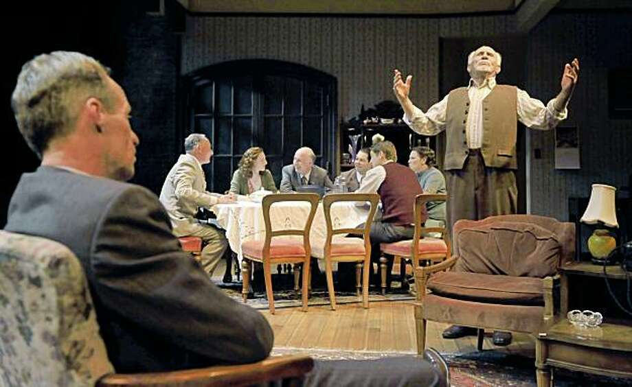 "Moe (Rod Gnapp, left) listens to Jacob (Ray Reinhardt) while the rest of the Berger family has dinner in Clifford Odets' ""Awake and Sing"" at Aurora Theatre Photo: David Allen"