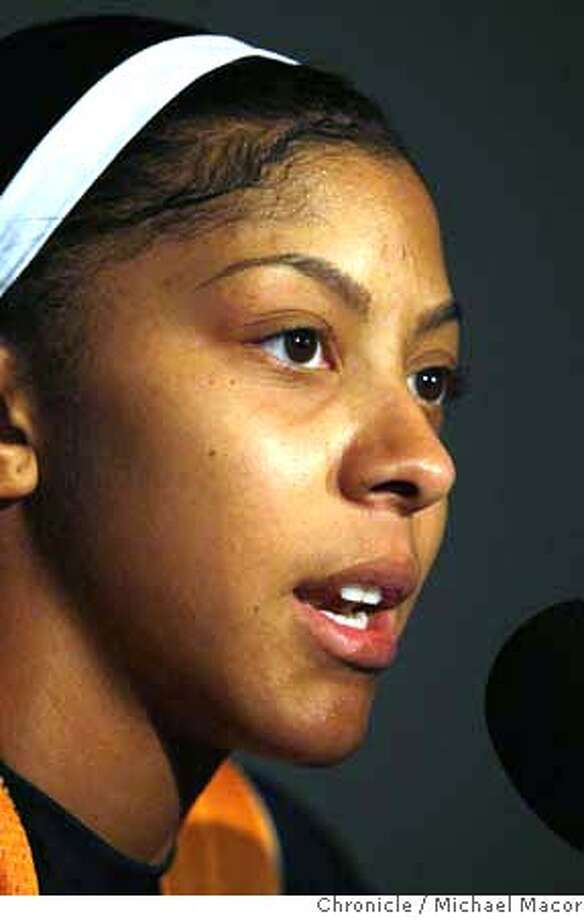 ###Live Caption:University of Tennessee's Candace Parker speaks witht he news media at the St. Petersburg Times Forum in Tampa, Florida on April 7, 2008, a day before to NCAA women's championship game between Stanford and Tennessee.  Photo by Michael Macor/ San Francisco Chronicle###Caption History:University of Tennessee's Candace Parker speaks witht he news media at the St. Pete Times Forum in Tampa, Florida on April 7, 2008, a day before to NCAA women's championship game between Stanford and Tennessee.  Photo by Michael Macor/ San Francisco Chronicle###Notes:The Women's NCAA Final Four Basketball Tournament in Tampa, Florida. The Stanford Cardinal women prepare for the finals tomorrow night after their victory over the university of Connecticut last night.###Special Instructions:Mandatory credit for Photographer and San Francisco Chronicle No sales/ Magazines Out Photo: Michael Macor