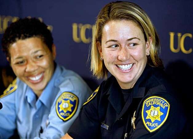 Lisa Campbell (left), manager of UCPD Special Events, and UC Berkeley police officer Ally Jacobs recall their interaction with kidnapping suspect Phillip Craig Garrido at a news conference in Berkeley, Calif., on Friday, Aug. 28, 2009. They said Garrido raised suspicion when he arrived on campus earlier this week seeking to distribute religious material with two young girls. Photo: Paul Chinn, The Chronicle