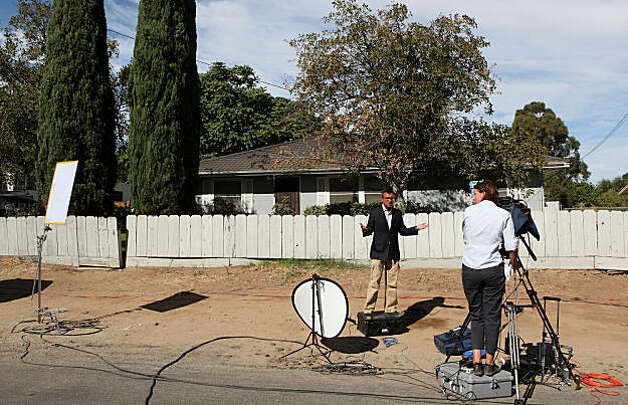 ANTIOCH, CA - AUGUST 28:  A television crew does a live report in front of the home of alleged kidnapper Phillip Garrido August 28, 2009 in Antioch, California. Jaycee Lee Dugard was allegedly kidnapped by Phillip Garrido nearly two decades ago and was forced to live in tents and sheds behind Garrido's home with two of her children that were fathered by Garrido.  (Photo by Justin Sullivan/Getty Images) Photo: Justin Sullivan, Getty Images