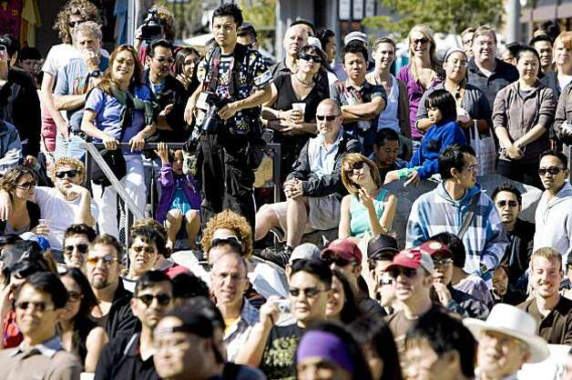 Crowds packed into Japantown to watch the performances at the J-Pop Summit Festival in San Francisco on Saturday. Photo: Laura Morton, Special To The Chronicle