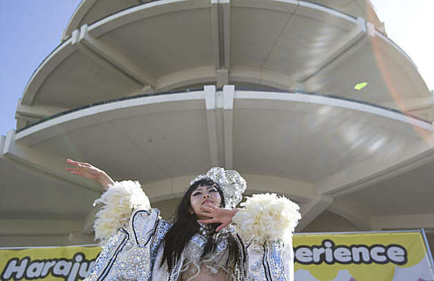 Yuka of the 6%Dokidoki girls performs at the J-Pop Summit Festival in Japantown in San Francisco on Saturday. Photo: Laura Morton, Special To The Chronicle