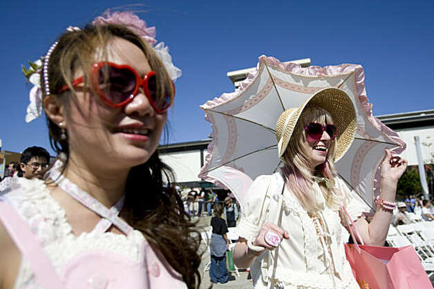 Ada and Sarah Frank (right) attend the J-Pop Summit Festival in Japantown in San Francisco on Saturday. Photo: Laura Morton, Special To The Chronicle