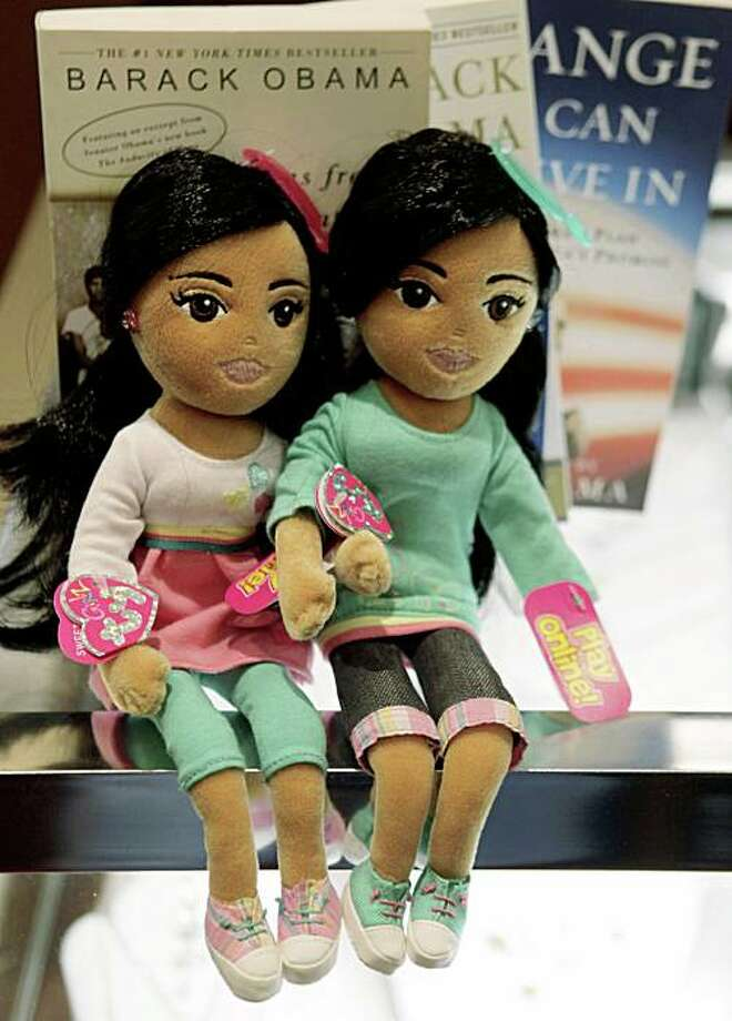Pictured are the Sweet Sasha, left, and Marvelous Malia dolls made by Ty Inc., the creators of the Beanie Babies at Lamont's gift shop inside the Ritz-Carlton Hotel in Chicago, Wednesday, Jan. 21, 2009. The daughters of President Barack Obama are the inspiration for the latest in the TyGirlz Collection. (AP Photo/Charles Rex Arbogast) Photo: Charles Rex Arbogast, AP