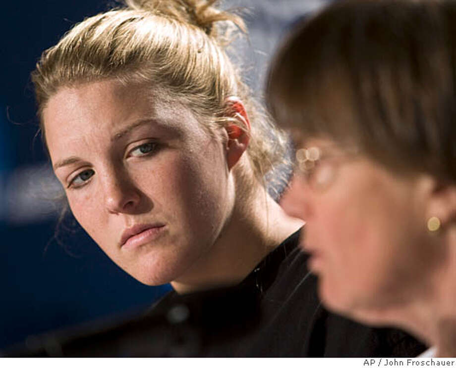 ###Live Caption:Stanford's Jayne Appel, left, listens as head coach Tara VanDerveer, right, speaks during a news conference on Sunday, March 30, 2008, in Spokane, Wash. Stanford will play Maryland in the finals of the NCAA women's basketball tournament Spokane Regional. (AP Photo/John Froschauer)###Caption History:Stanford's Jayne Appel, left, listens as head coach Tara VanDerveer, right, speaks during a news conference on Sunday, March 30, 2008, in Spokane, Wash. Stanford will play Maryland in the finals of the NCAA women's basketball tournament Spokane Regional. (AP Photo/John Froschauer)###Notes:Jayne Appel, Tara VanDerveer###Special Instructions:EFE OUT Photo: John Froschauer