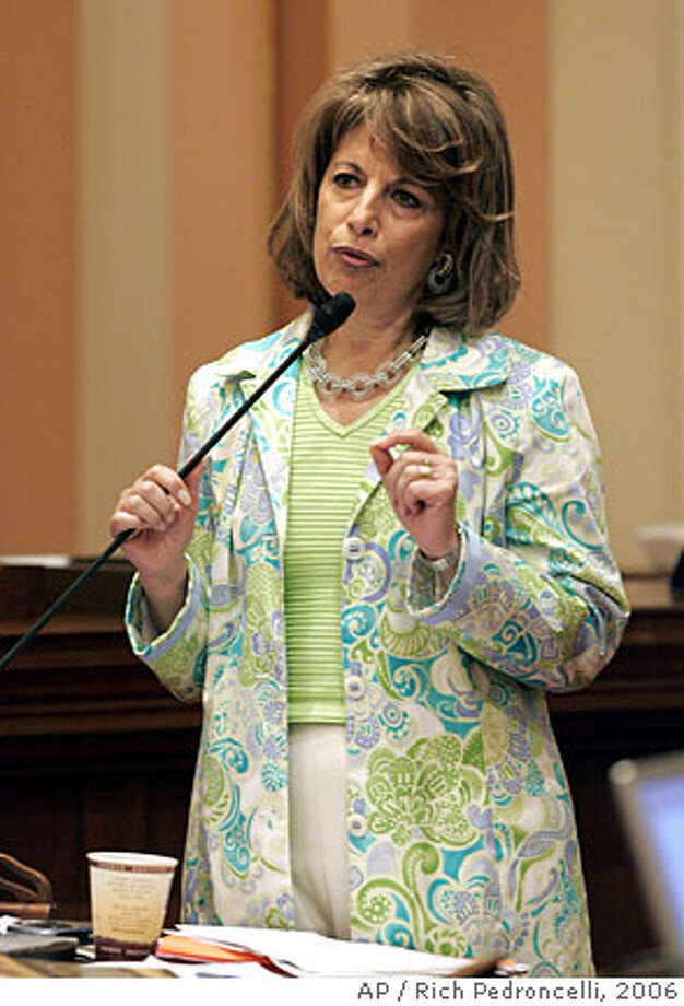 ** FILE ** Sen. Jackie Speier, D-Daly City, speaks at the Capitol in Sacramento, Calif., in this May 11, 2006 file photo. Speier is the favorite to win a special election Tuesday April 8, 2008 to fill the House seat left vacant by the death of Rep. Tom Lantos, a San Mateo Democrat. (AP Photo/Rich Pedroncelli,File) Photo: RICH PEDRONCELLI