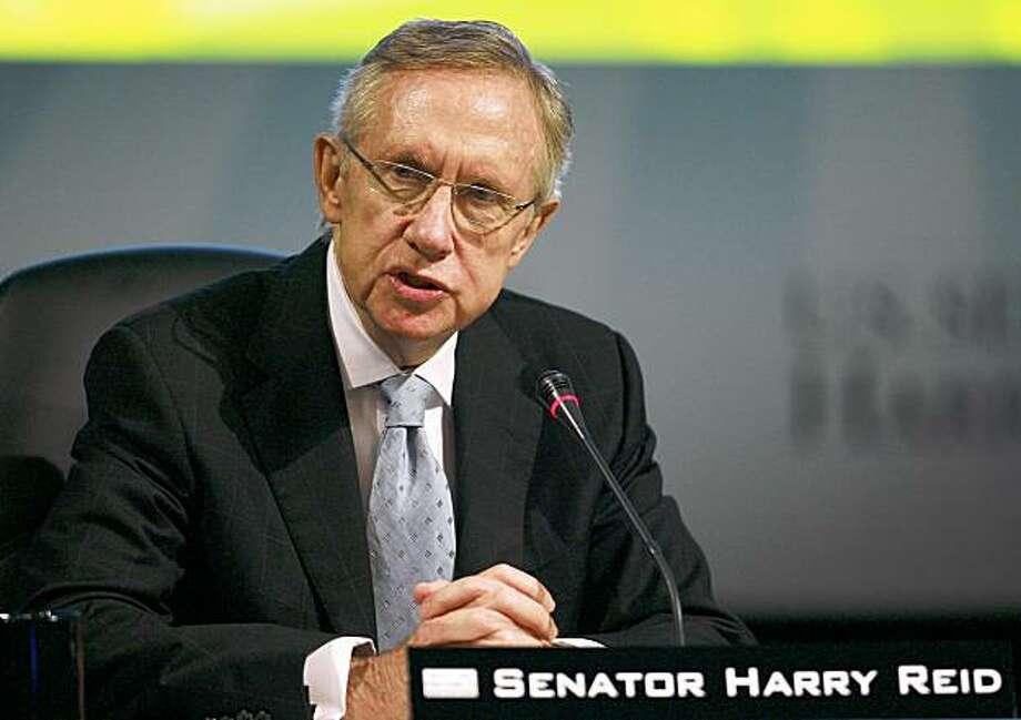 Senate Majority Leader Harry Reid speaks at the National Clean Energy Summit 2.0, Monday, Aug. 10, 2009, at The Cox Pavilion in Las Vegas. (AP Photo/Eric Jamison) Photo: Eric Jamison, AP
