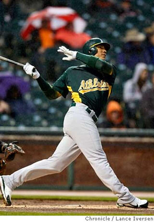 Oakland Athletics center fielder Carlos Gonzalez hits one deep to center field during their pre-season game with the San Francisco at AT&T Park Friday March 28, 2008. Photo By Lance Iversen / San Francisco Chronicle. Photo: LANCE IVERSEN