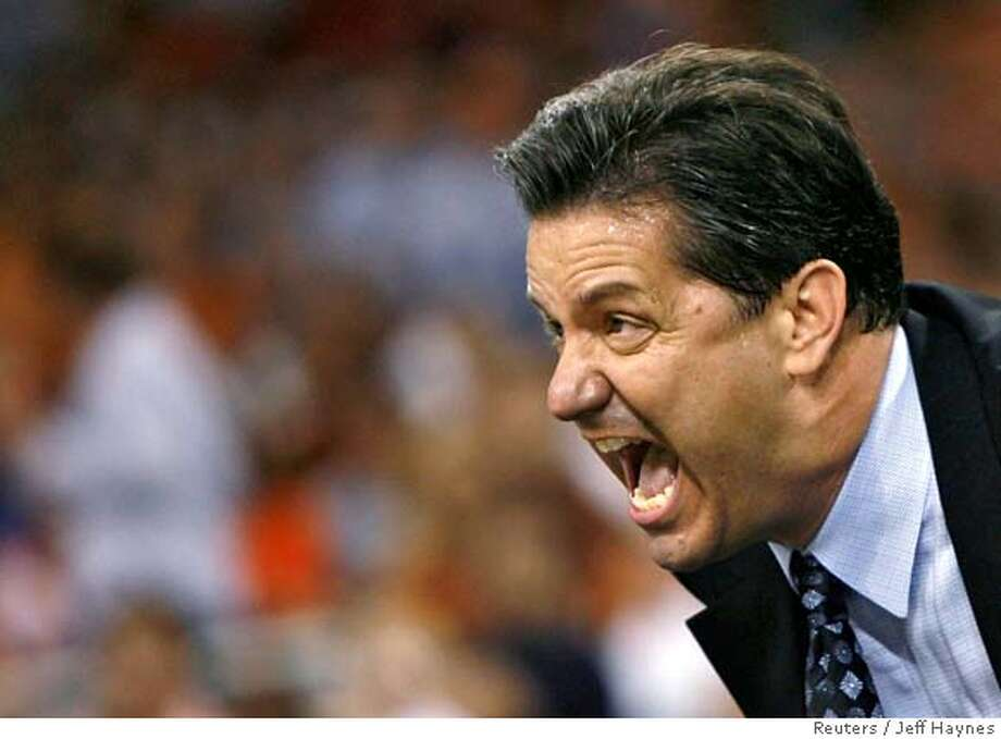 ###Live Caption:Memphis Tigers head coach John Calipari shouts out during the second half of their NCAA men's South Regional finals basketball game against Texas in Houston, March 30, 2008. REUTERS/Jeff Haynes (UNITED STATES)###Caption History:Memphis Tigers head coach John Calipari shouts out during the second half of their NCAA men's South Regional finals basketball game against Texas in Houston, March 30, 2008. REUTERS/Jeff Haynes (UNITED STATES)###Notes:Memphis Tigers head coach John Calipari shouts out during the second half of their NCAA men's South Regional finals basketball game against Texas in Houston###Special Instructions: Photo: JEFF HAYNES