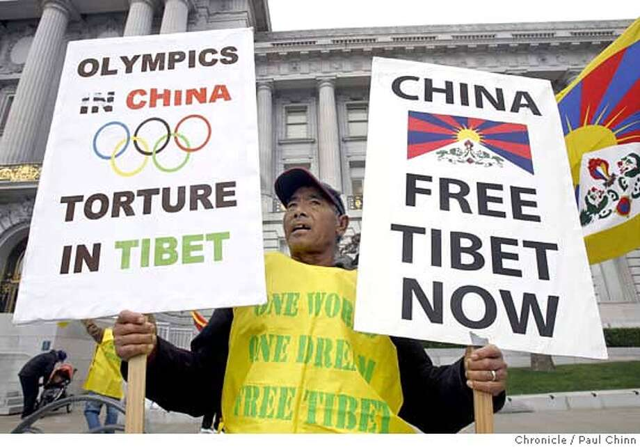 ###Live Caption:Tsering Wangdu and other members of the Tibetan community demonstrate in front of City Hall in San Francisco, Calif., on Friday, March 28, 2008. The protesters are urging Mayor Gavin Newsom to cancel the Olympic torch run and denounce China's aggression in their native homeland.  Photo by Paul Chinn / San Francisco Chronicle###Caption History:Tsering Wangdu and other members of the Tibetan community demonstrate in front of City Hall in San Francisco, Calif., on Friday, March 28, 2008. The protesters are urging Mayor Gavin Newsom to cancel the Olympic torch run and denounce China's aggression in their native homeland.  Photo by Paul Chinn / San Francisco Chronicle###Notes:Tsering Wangdu###Special Instructions:MANDATORY CREDIT FOR PHOTOGRAPHER AND S.F. CHRONICLE/NO SALES - MAGS OUT Photo: Paul Chinn