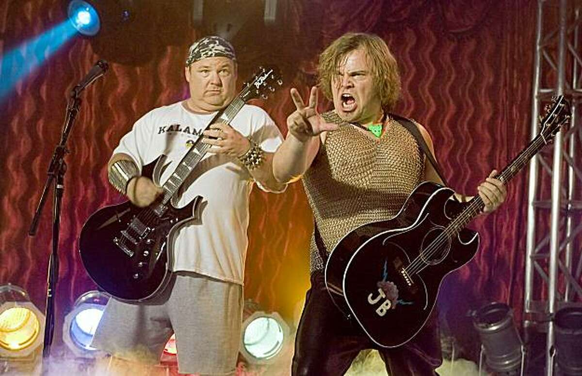 """In this photo provided by New Line, Kyle Gass (KG) and Jack Black (JB) have formed a band the likes of which has never been seen in """"Tenacious D and the Pick of Destiny."""""""