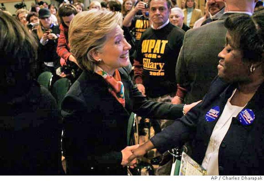 ###Live Caption:Democratic presidential hopeful, Sen. Hillary Rodham Clinton, D-N.Y., greets audience members after speaking about jobs during a campaign discussion at the IBEW Local Union 5 Training Facility in Pittsburgh, Pa., Wednesday, April 2, 2008. (AP Photo/Charles Dharapak)###Caption History:Democratic presidential hopeful, Sen. Hillary Rodham Clinton, D-N.Y., greets audience members after speaking about jobs during a campaign discussion at the IBEW Local Union 5 Training Facility in Pittsburgh, Pa., Wednesday, April 2, 2008. (AP Photo/Charles Dharapak)###Notes:Hillary Rodham Clinton###Special Instructions: Photo: Charles Dharapak