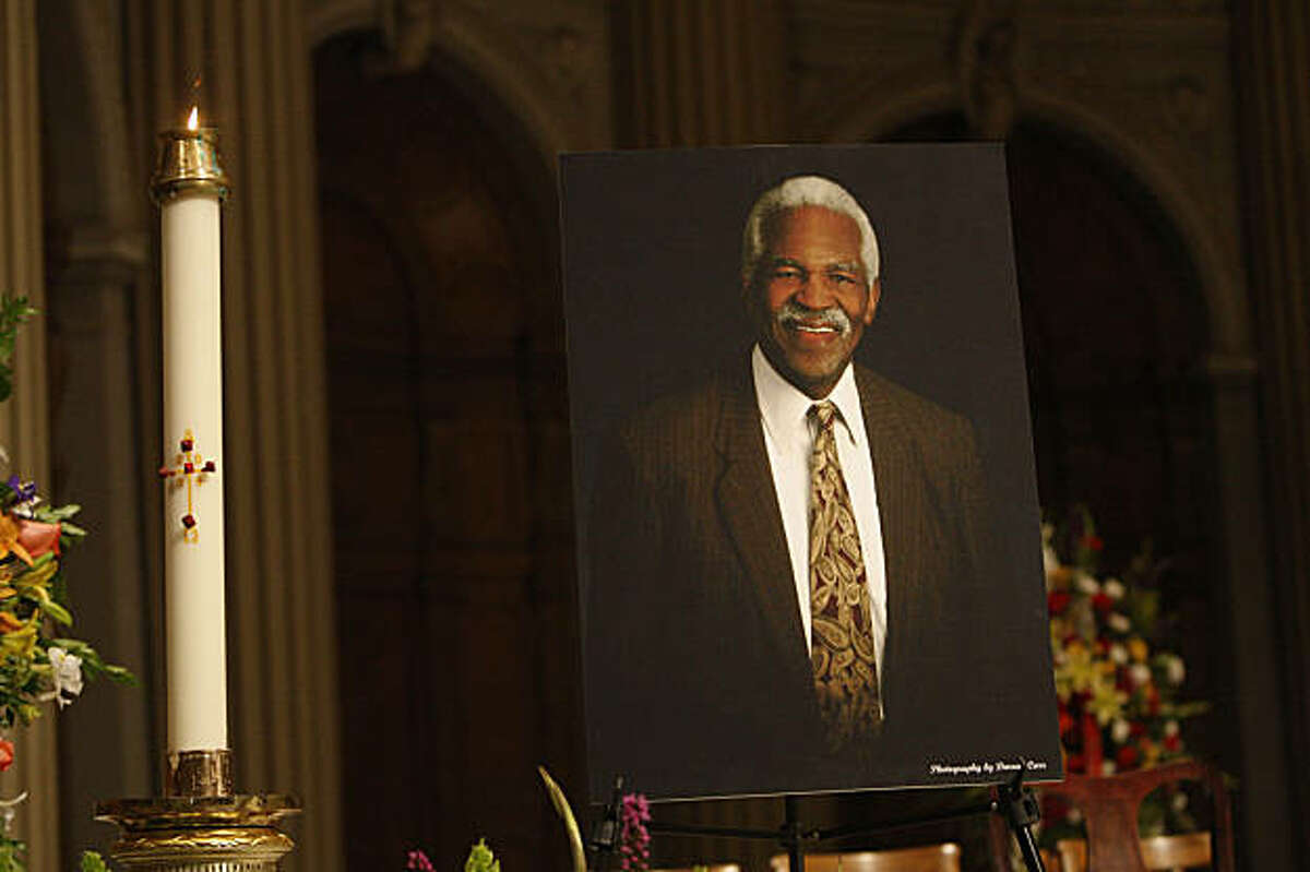 A portrait of Burl Toler is displayed during the funeral service at St. Ignatius Church in San Francisco, Calif. on Wednesday, August 26, 2009.