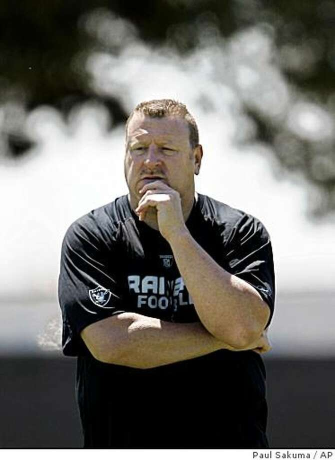 Oakland Raiders head coach Tom Cable watches NFL football minicamp at Raiders headquarters in Alameda, Calif., Friday, May 8, 2009. Photo: Paul Sakuma, AP