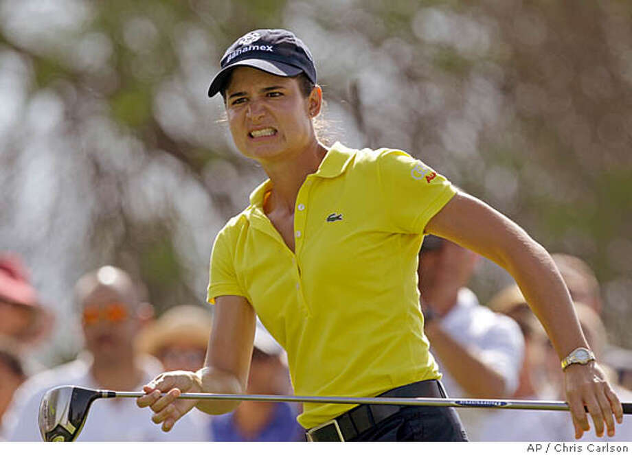 Lorena Ochoa, of Mexico, watches her drive into the right rough on the 13th hole during the third round of the LPGA's Kraft Nabisco Championship golf tournament in Rancho Mirage, Calif., Saturday, April 5, 2008. (AP Photo/Chris Carlson) Photo: Chris Carlson