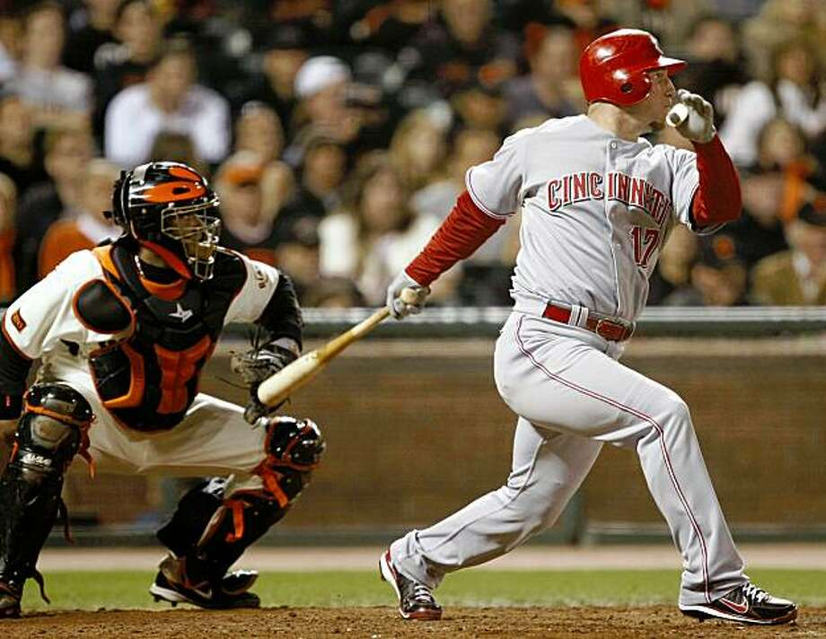 Cincinnati Reds' Laynce Nix drives in two runs with a bases loaded double off San Francisco Giants reliever Brian Wilson during the eighth inning of a baseball game in San Francisco, Friday, Aug. 7, 2009. (AP Photo/Marcio Jose Sanchez) Photo: Marcio Jose Sanchez, AP