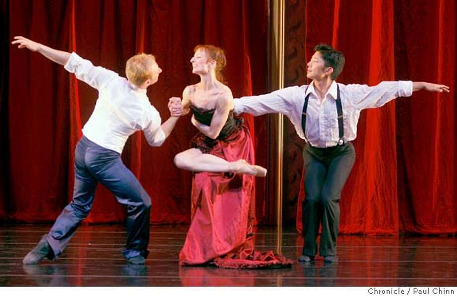 "From left, Edward Stegge, Tina Kay Bohnstedt and Derek Sakakura dance in a scene from the Diablo Ballet's production of ""Once Upon a Ballroom"" at the Lesher Center for the Arts in Walnut Creek, Calif., on Friday, March 21, 2008. Photo by Paul Chinn / San Francisco Chronicle Photo: Paul Chinn"